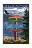 Bellingham, Washington - Signpost Destinations Posters by  Lantern Press