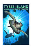 Tybee Island, Georgia - Marine Science Center - Sea Turtle Diving Poster by  Lantern Press