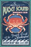 Puget Sound, Washington - Dungeness Crab Vintage Sign Art by  Lantern Press