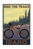 Idaho - Mountain Bike Scene Poster by  Lantern Press