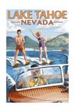 Lake Tahoe, Nevada - Water Skiing Scene Art