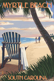 Myrtle Beach, South Carolina - Adirondack and Palms Posters by  Lantern Press