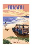 Miami, Florida - Woody on the Beach Prints by  Lantern Press