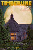 Timberline Lodge and Full Moon - Mt. Hood, Oregon Prints by  Lantern Press