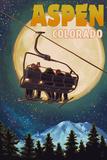 Aspen, Colorado - Ski Lift and Full Moon Posters