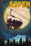 Aspen, Colorado - Ski Lift and Full Moon Posters by  Lantern Press