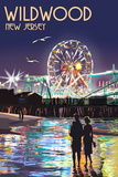 Wildwood, New Jersey - Pier and Rides at Night Prints by  Lantern Press