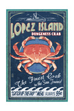 Lopez Island, Washington - Dungeness Crab Vintage Sign Poster by  Lantern Press