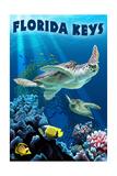 Florida Keys, Florida - Sea Turtle Swimming Posters van  Lantern Press