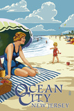 Ocean City, New Jersey - Woman on the Beach Poster by  Lantern Press