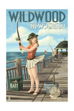 Wildwood, New Jersey - Fishing Pinup Girl Prints by  Lantern Press
