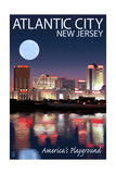 Atlantic City, New Jersey - Skyline at Night Prints by  Lantern Press