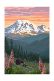 Bear Family and Spring Flowers (Rainier Background) Posters by  Lantern Press