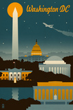 Washington, DC - Retro Skyline Pôsters por  Lantern Press