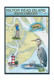 Hilton Head, South Carolina - Nautical Chart Prints by  Lantern Press
