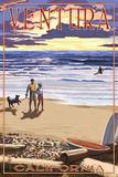 Ventura, California - Sunset Beach Walk Prints by  Lantern Press
