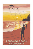 Redondo Beach, California - Kite Flyer Posters by  Lantern Press