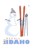 McCall, Idaho - Snowman with Skis Prints