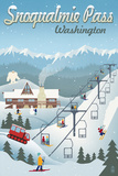 Snoqualmie Pass, Washington - Retro Ski Resort Art by  Lantern Press