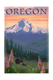 Oregon - Mt. Hood Bear Family and Spring Flowers Prints by  Lantern Press