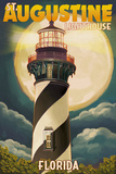 St. Augustine, Florida - Lighthouse and Moon Posters by  Lantern Press