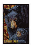 Tennessee - Black Bears Mosaic Poster by  Lantern Press