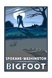 Spokane, Washington - Bigfoot Prints by  Lantern Press