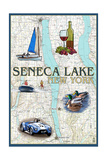 Seneca Lake, New York - Nautical Chart Art by  Lantern Press