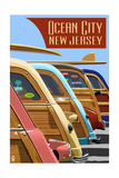 Ocean City, New Jersey - Woodies Lined Up Prints by  Lantern Press