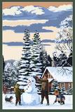Snowman Scene Poster by  Lantern Press
