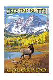 Crested Butte, Colorado - Maroon Bells and Elk Prints by  Lantern Press