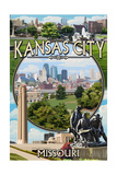 Kansas City, Missouri - Montage Scenes Print by  Lantern Press