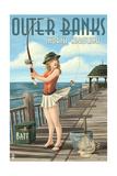 Outer Banks, North Carolina - Pinup Girl Fishing Posters by  Lantern Press