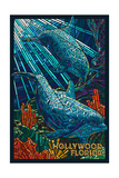 Hollywood, Florida - Dolphins Mosaic Posters by  Lantern Press