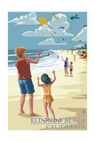 Redondo Beach, California - Kite Flying Prints by  Lantern Press