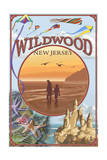 Wildwood, New Jersey - Beach Montage Prints by  Lantern Press