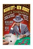 Ocean City, New Jersey - Poker Tournament Vintage Sign Print