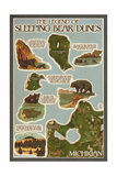 Sleeping Bear Dunes, Michigan - Sleeping Bear Dunes Legend Map Posters by  Lantern Press
