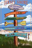 Pt. Pleasant Beach, New Jersey - Destinations Signpost Posters par  Lantern Press