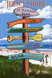 Pt. Pleasant Beach, New Jersey - Destinations Signpost Prints by  Lantern Press