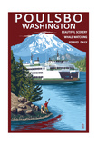 Poulsbo, Washington - Ferry and Mountain Poster by  Lantern Press