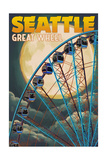 The Great Wheel and Full Moon - Seattle, Washington Prints by  Lantern Press