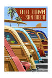 Old Town - San Diego, California - Woodies Lined Up Posters by  Lantern Press