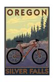 Silver Falls State Park, Oregon - Bicycle Scene Posters van  Lantern Press