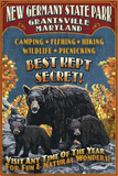 Grantsville, Maryland - Black Bear Vintage Sign Prints by  Lantern Press