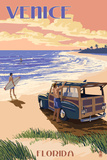 Venice, Florida - Woody on the Beach Print by  Lantern Press