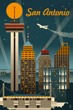 San Antonio, Texas - Retro Skyline Posters by  Lantern Press