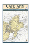 Cape Ann, Massachusetts - Nautical Chart Prints by  Lantern Press