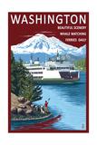 Washington - Ferry Scene Art by  Lantern Press