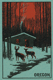 Deer and Cabin in Winter - Oregon Woodblock Posters by  Lantern Press